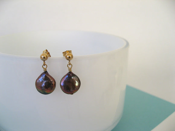 Bronze & Gold Pearl Earrings