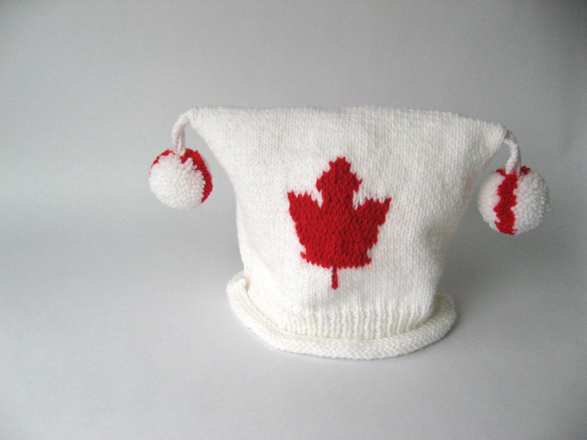 White w/ Bright Red Maple Leaf
