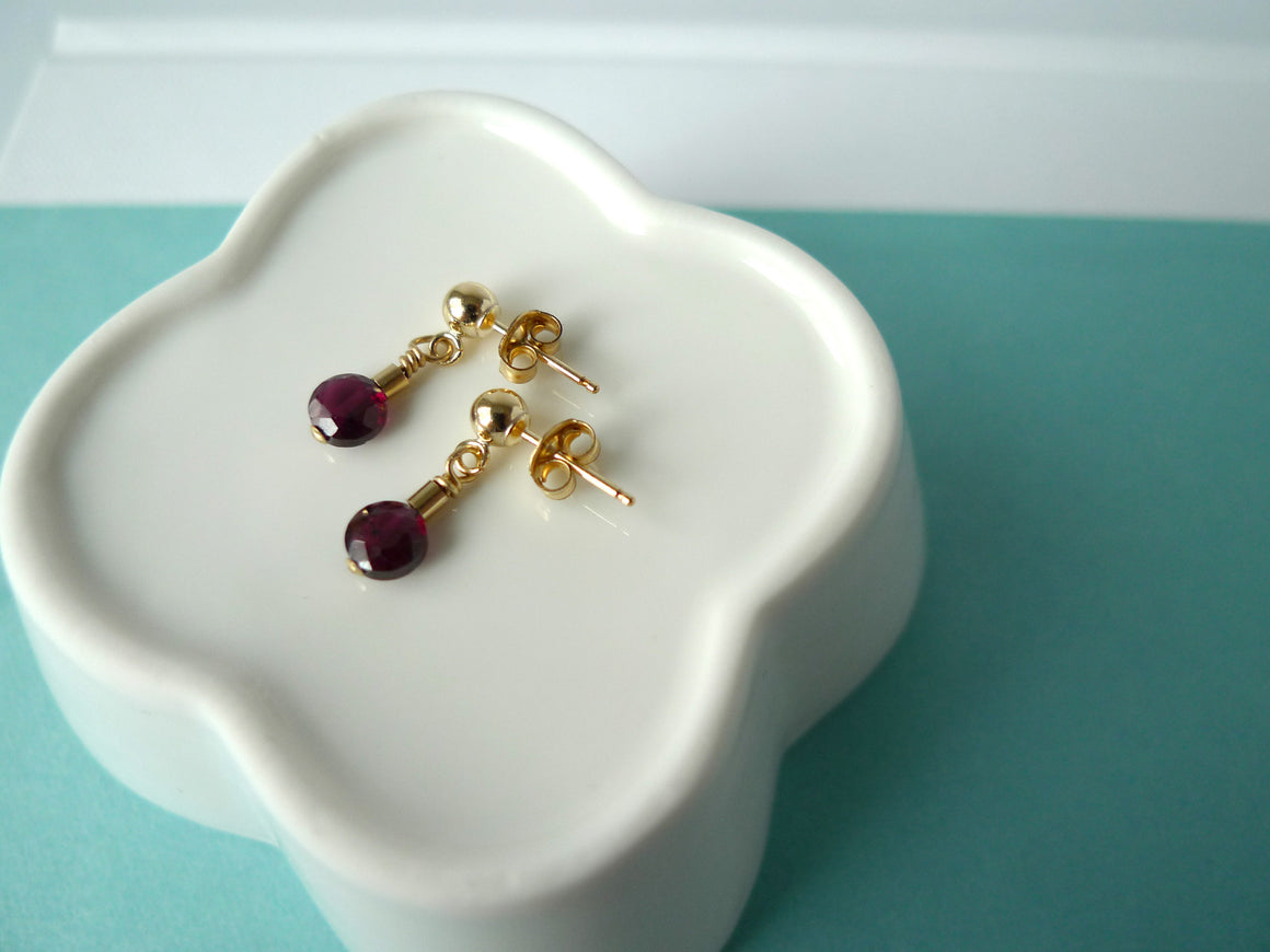 Tiny Garnet Earrings