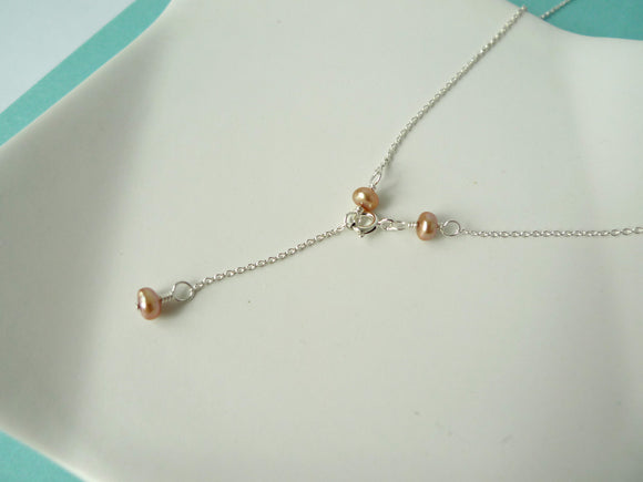 Square Pearl Pendant Necklace