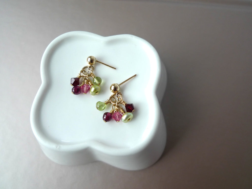 Peridot & Garnet Earrings