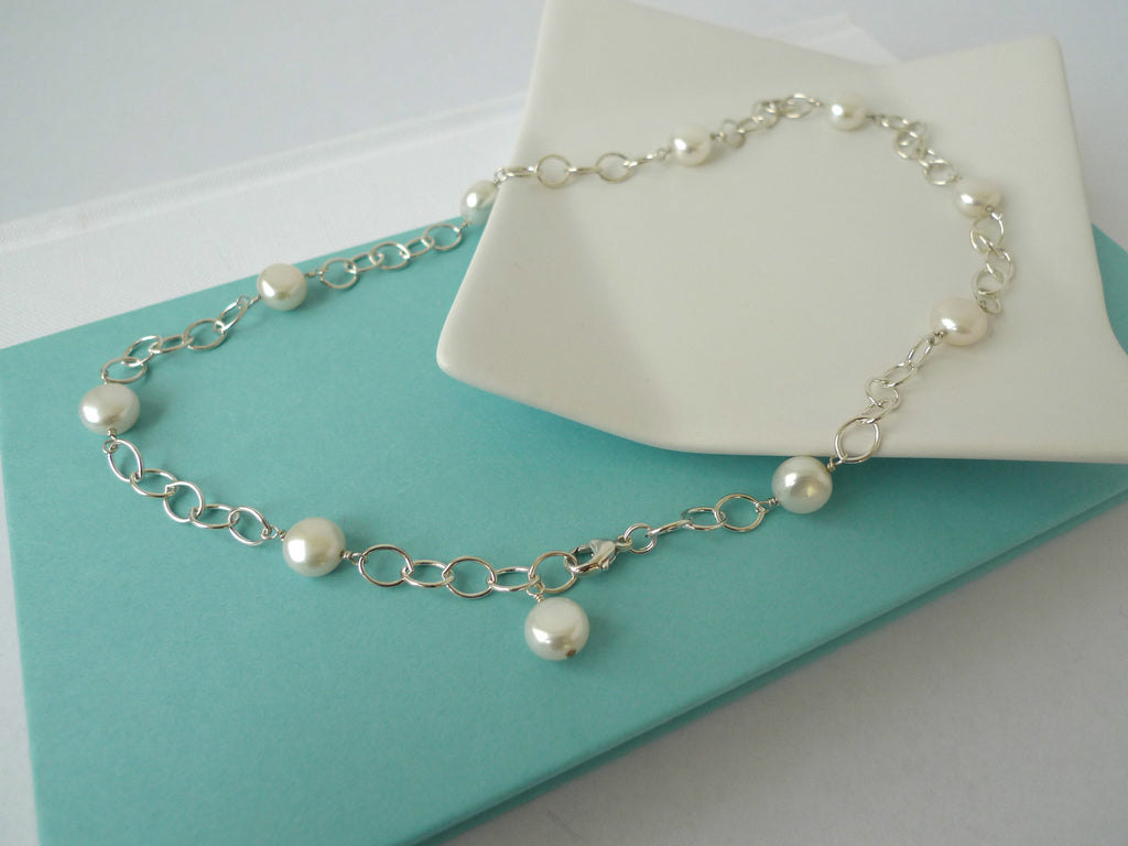 White Pearl Station Necklace