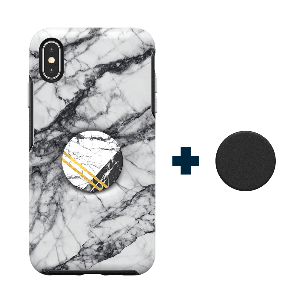 Otter + Pop Symmetry Series Case  White Marble For iPhone XS Max, PopSockets
