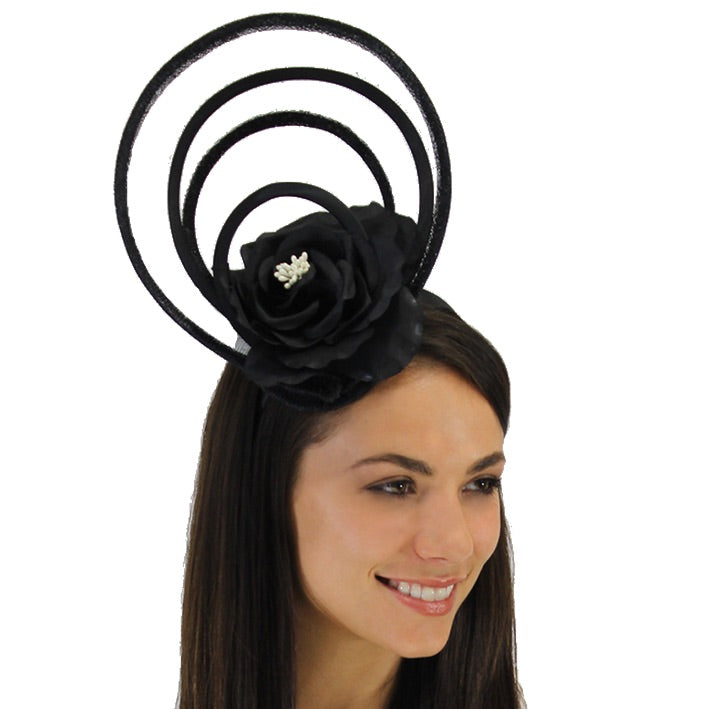 Jendi Black Loops Fascinator with a Flower on a Headband