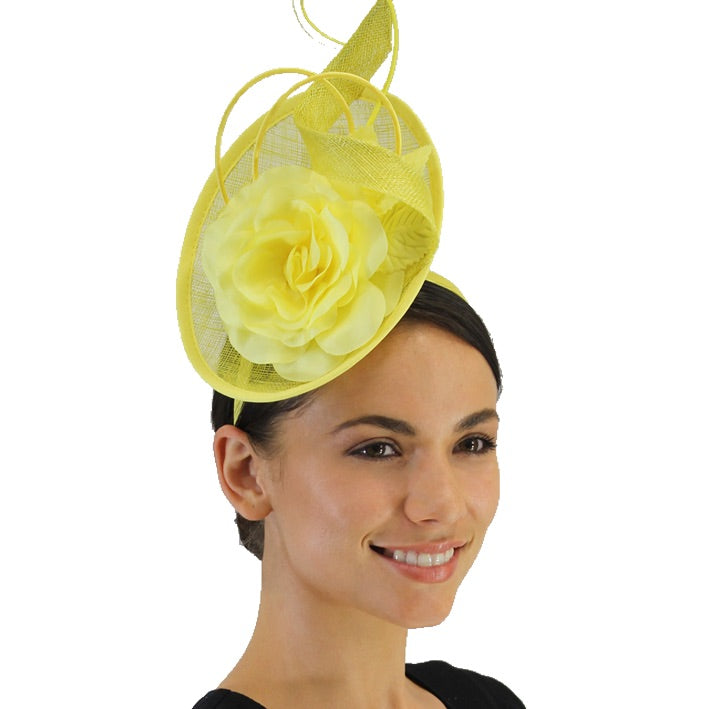 Jendi Fascinator with a Flower and a Quill in Daffodil Yellow