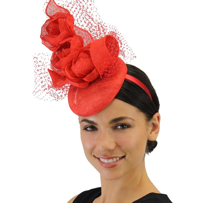 Jendi Fascinator with Stacked Flowers and Netting in Lava