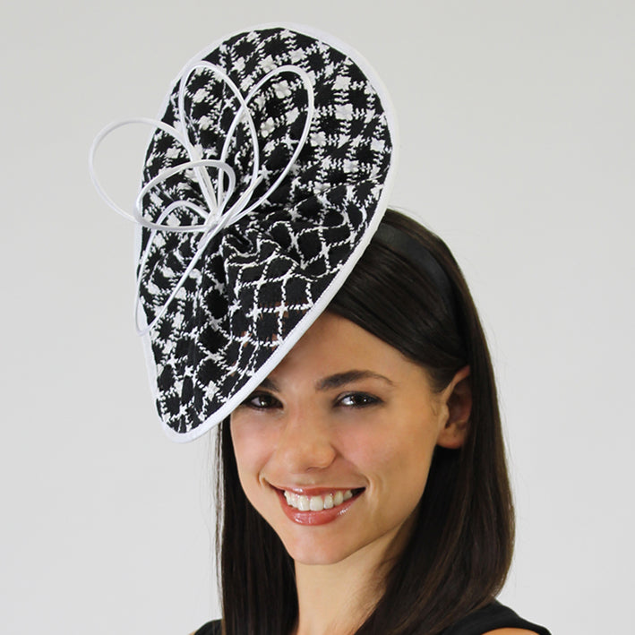Jendi Black and White Fascinator with White Quills