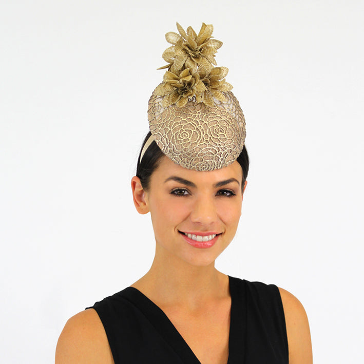 Jendi Percher Hat in Golden Lace with Golden Flowers