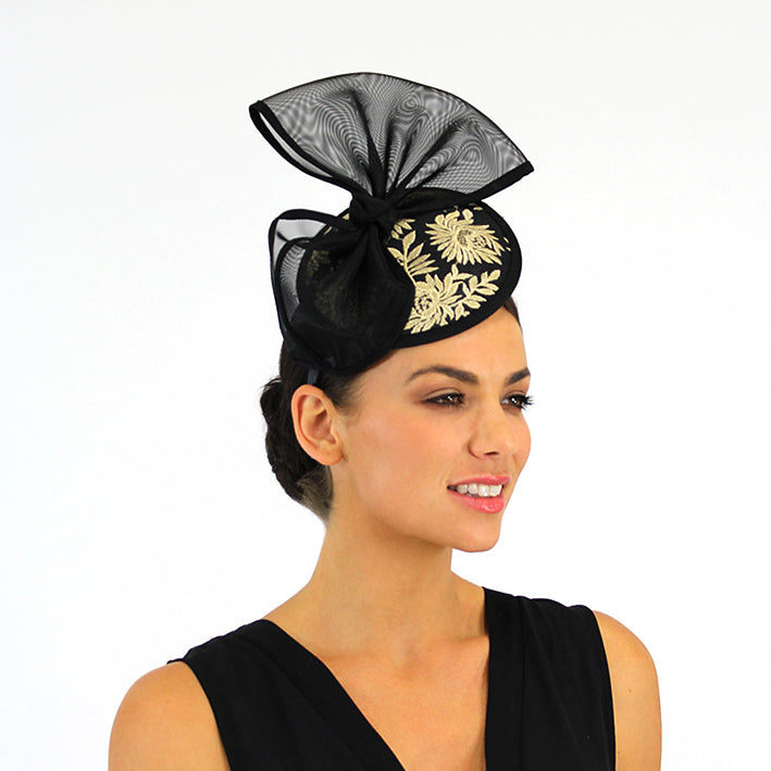 Jendi Black Fascinator with a Bow and Golden Detail