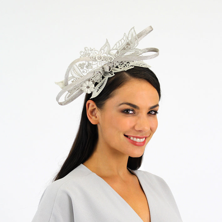 Jendi Silver Lace Cutout Fascinator with a Bow