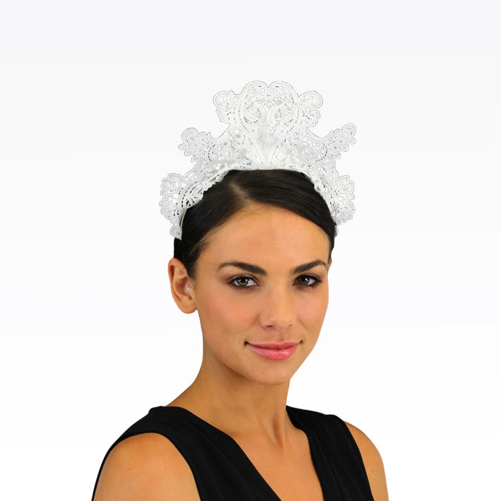 Jendi White Lace Fascinator on a Headband