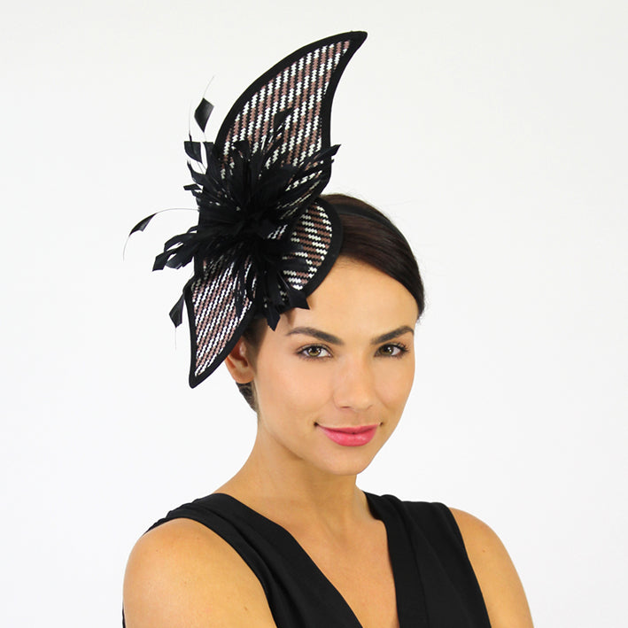 Jendi Leaf Shape Multicolour Fascinator with Black Feathers