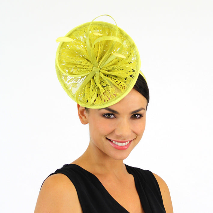 Jendi Chartreuse Lace Plate Fascinator with  Loops and Feathers