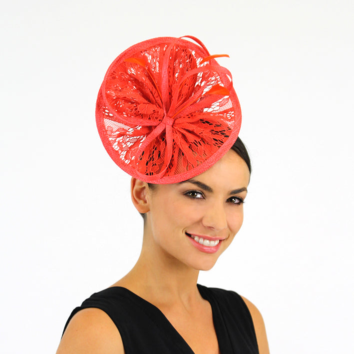 Jendi Lava Lace Plate Fascinator with  Loops and Feathers