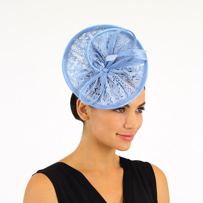 Jendi Powder Blue Lace Plate Fascinator with  Loops and Feathers