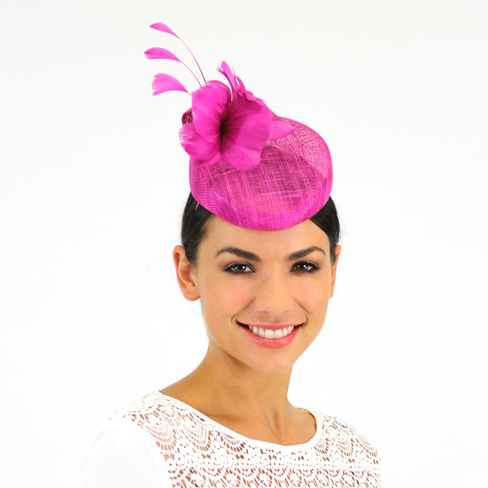 Jendi Fuchsia Sinamay Hat with a Feather Flower and Feathers