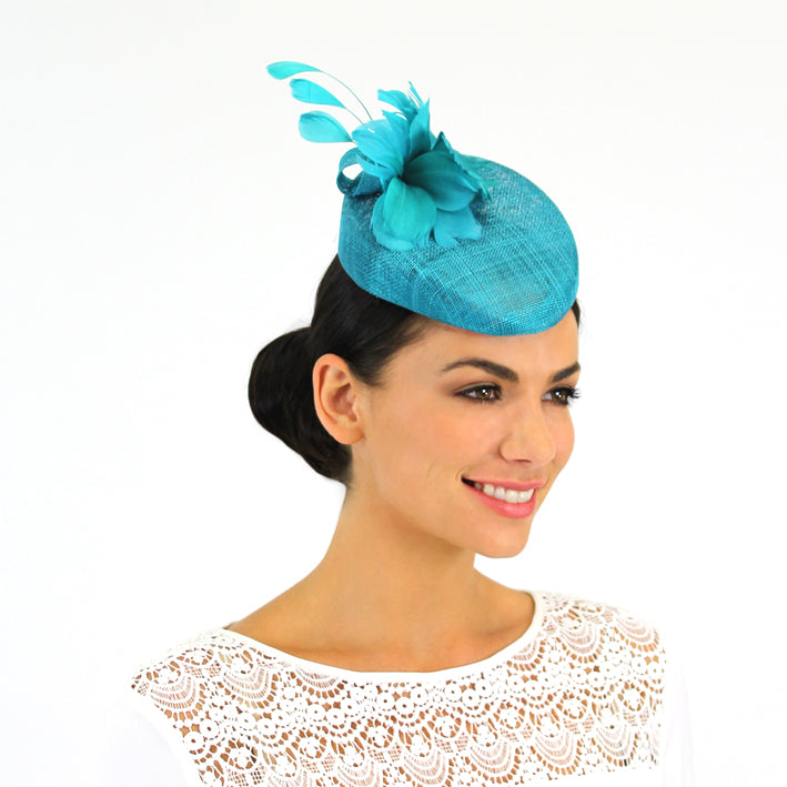Jendi Lagoon Blue Sinamay Hat with a Feather Flower and Feathers