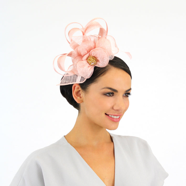 Jendi Blush Sinamay Fascinator with Sinamay Loops and a Sparkly Centre