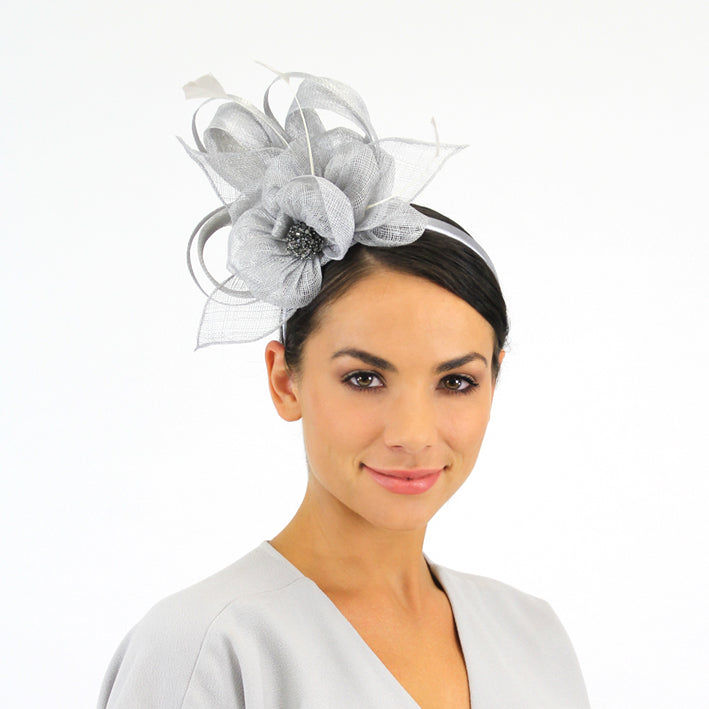Jendi Mist Sinamay Fascinator with Sinamay Loops and a Sparkly Centre