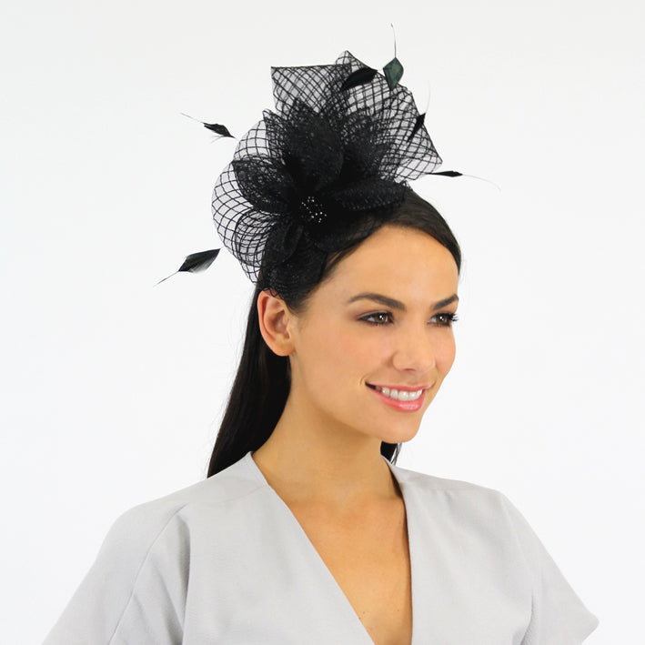 Jendi Black Mesh Fascinator with a Jewelled Centre and Feathers