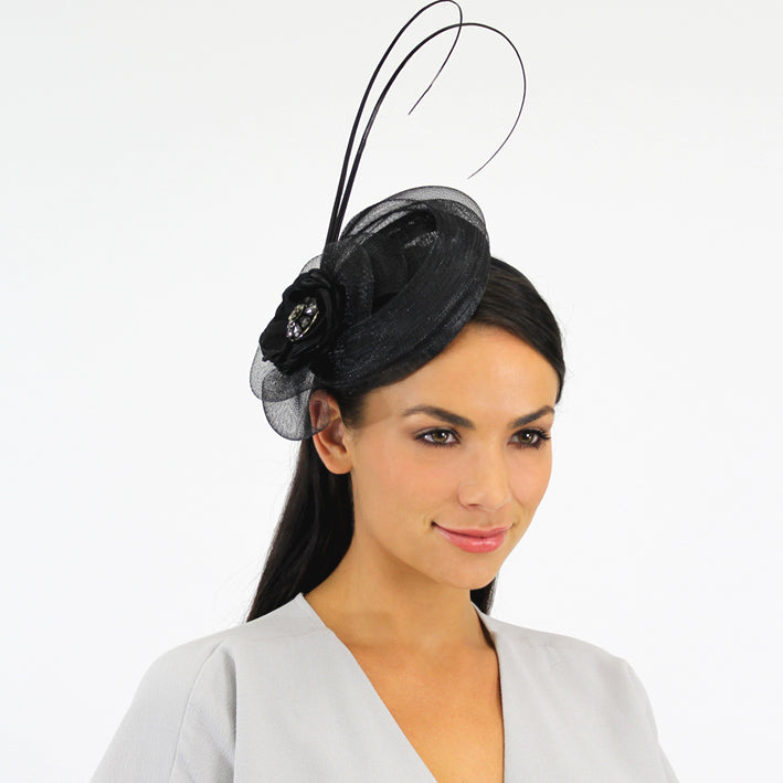 Jendi Black Mesh Fascinator with a Jewelled Centre and Sticks