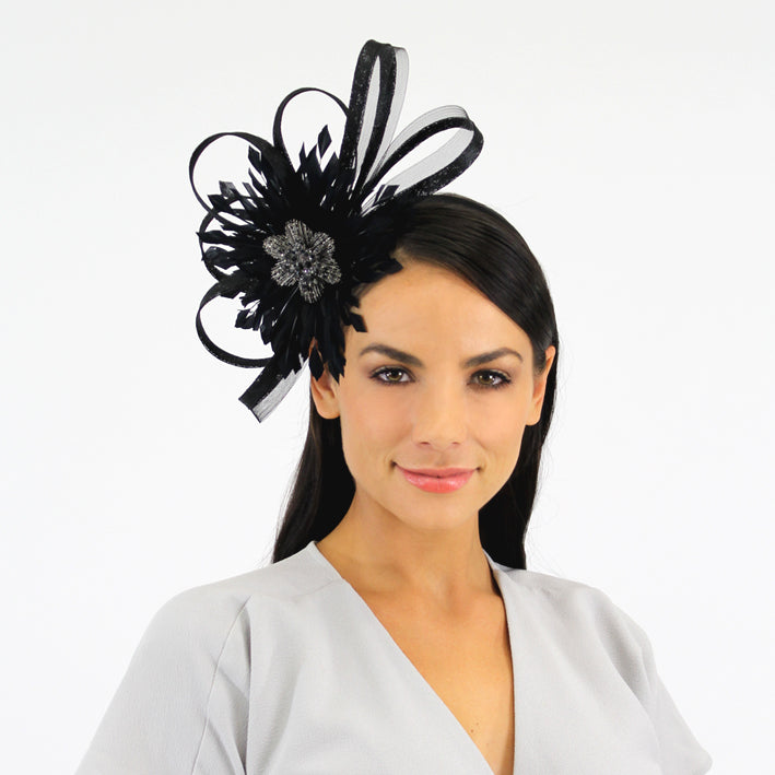 Jendi Black Mesh Fascinator with a Feathered Centre and Loops