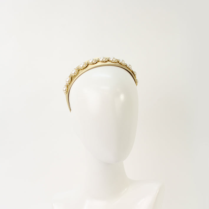 Jendi Abigail Pearl Headband in Gold