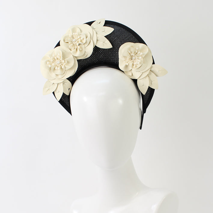 Jendi Paloma Halo Fascinator in Black with Cream Flowers
