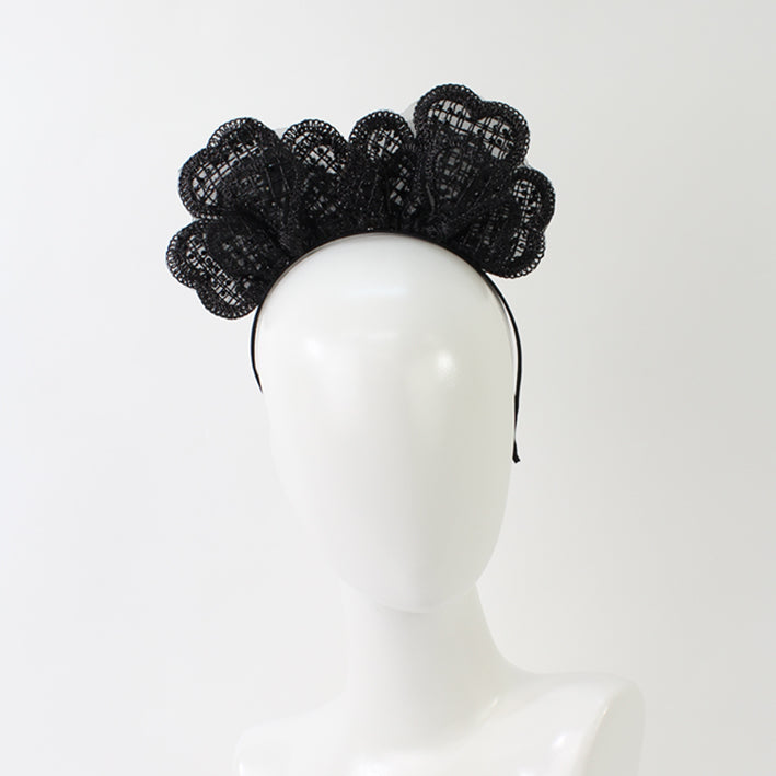 Jendi Clover Shape Lace Fascinator in Black on a Headband
