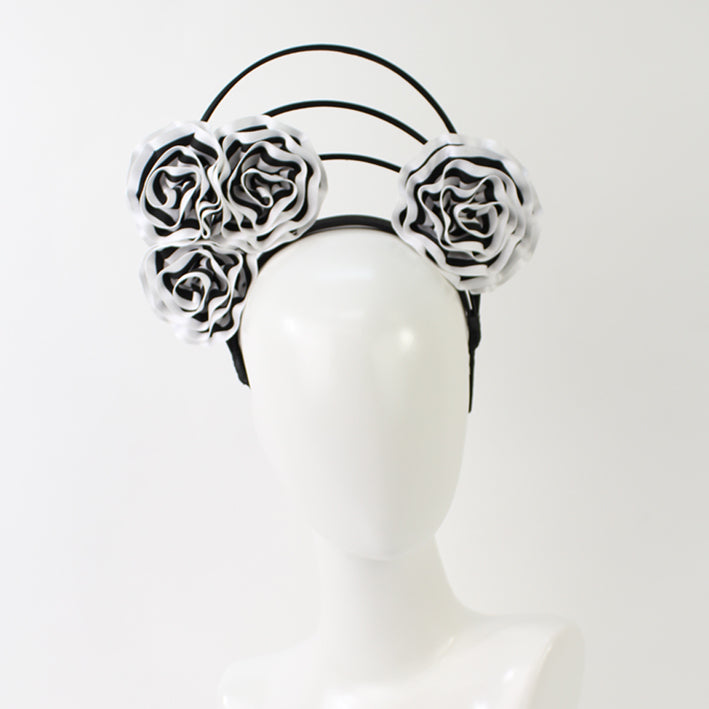 Jendi Black & White Flower Arches Fascinator on a Headband