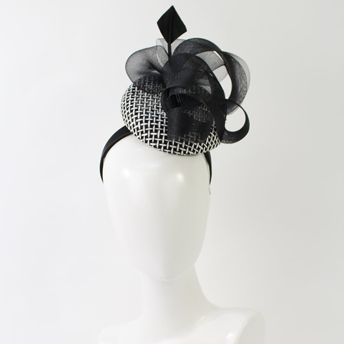 Jendi Black & White Button Hat with Mesh Curls in Black on a Headband