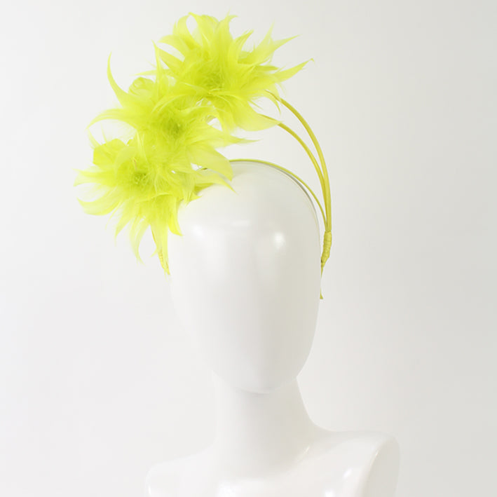 Jendi Feather Arches Fascinator in Chartreuse on a Headband