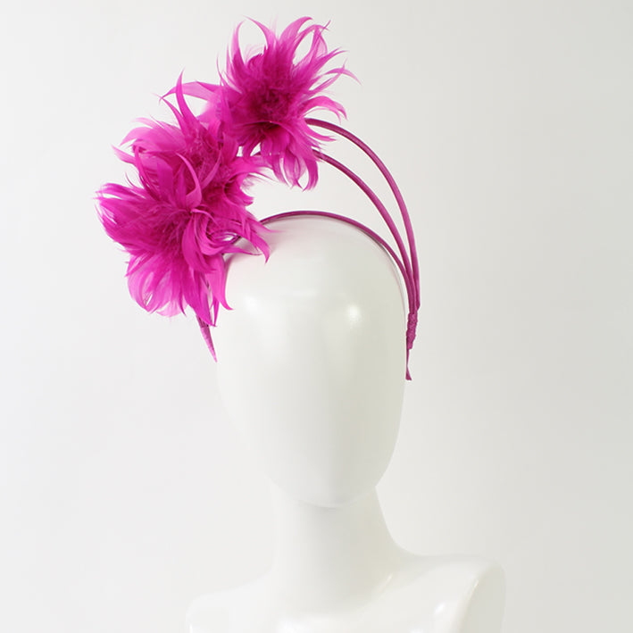 Jendi Feather Arches Fascinator in Hot Pink on a Headband