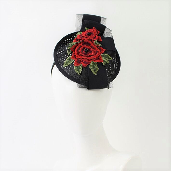 Jendi Alexa Fascinator in Black with Embroidery