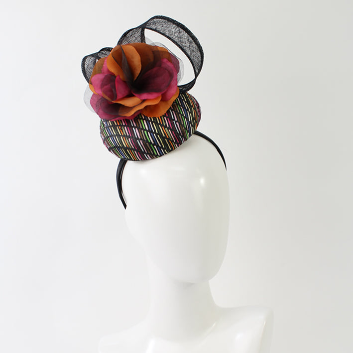 Jendi Multicolour Button Hat with Flower andLoops on a Headband