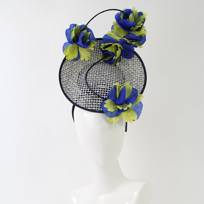 Jendi B&W Plate Headpiece with Blue and Yellow Flowers