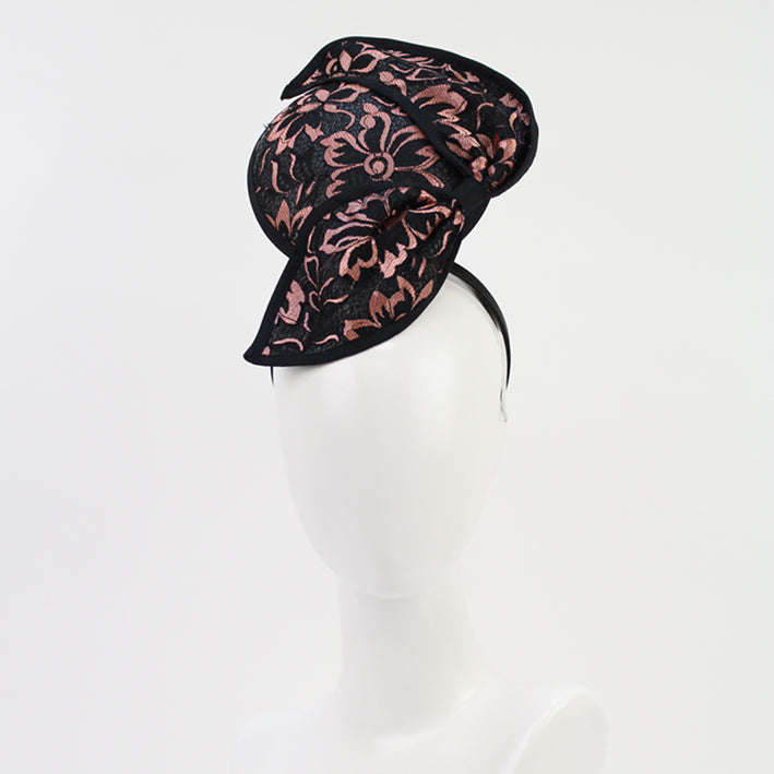 Jendi Megan Lace Bow Fascinator in Black & Pink