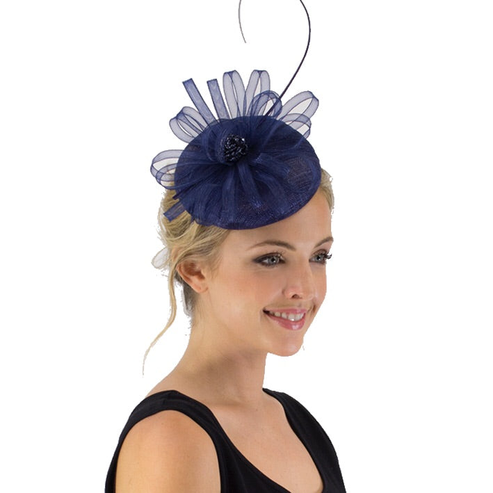 Jendi Fascinator with Folds in Navy on a Headband