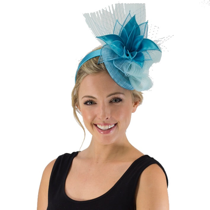 Jendi Fascinator with Crinoline Folds in Aqua on a Headband
