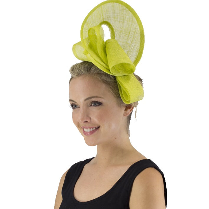 Jendi Twisted Fascinator in Citrus on a Headband