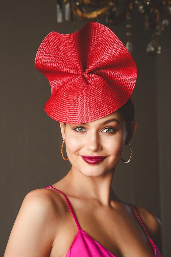 Morgan & Taylor Zaria Wave Plate Headpiece in Red