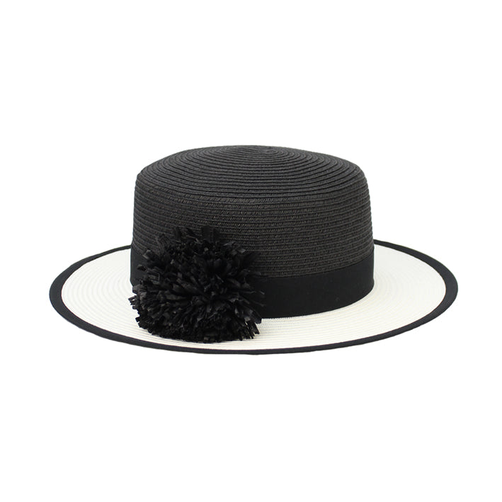Jendi Mylah Boater Hat in Black and White