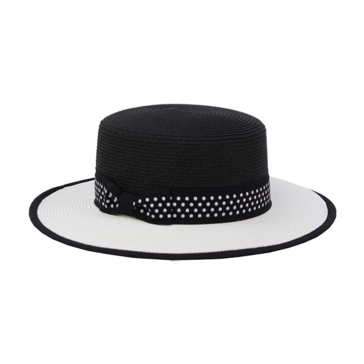 Jendi Mila Boater Hat in Black & White with Spotted Ribbon