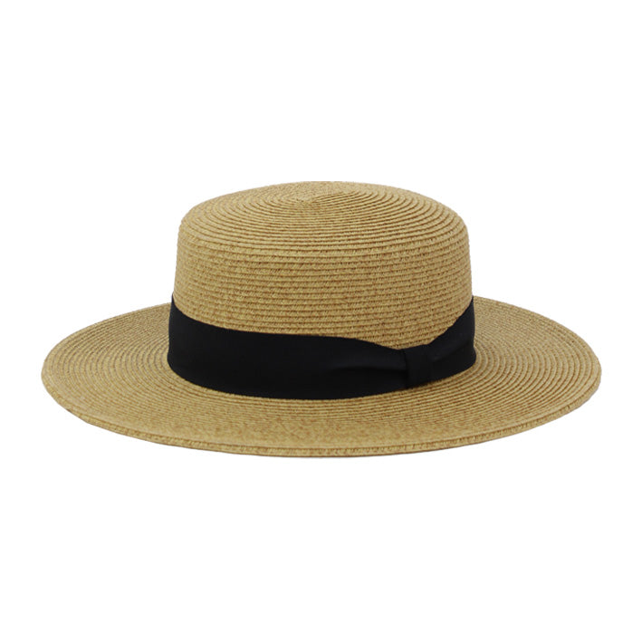 Jendi Brooklyn Boater Hat in Natural with Black Ribbon