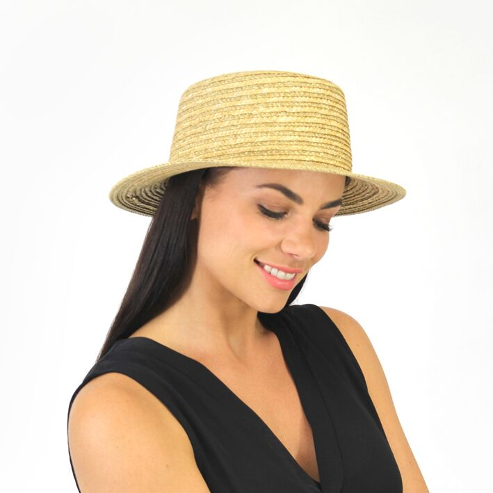 Jendi Amia Boater Hat in Natural Braid