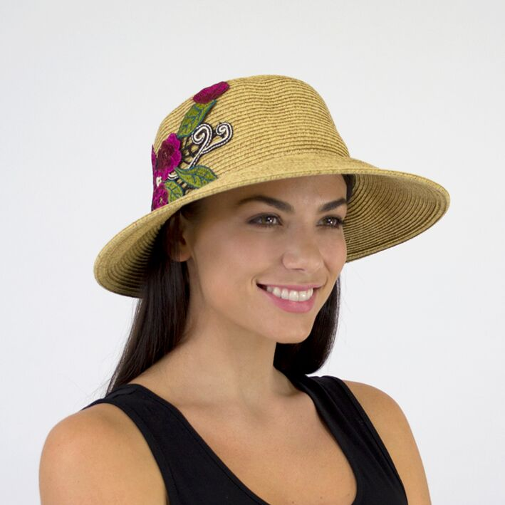 Jendi Paloma Summer Hat with Embroidered Flowers