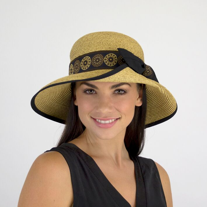 Jendi Abril Summer Hat in Natural with a Black Bow
