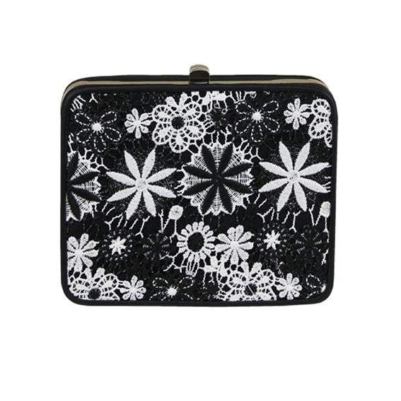 Jendi Square Pod in Black & White with embroidered flowers