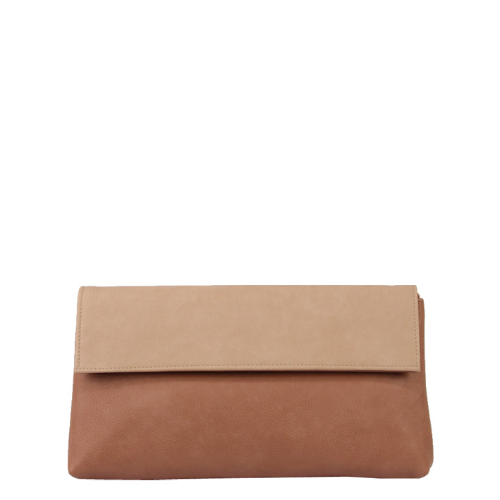 Jendi Two Tone Faux Leather Foldover Clutch in Petal