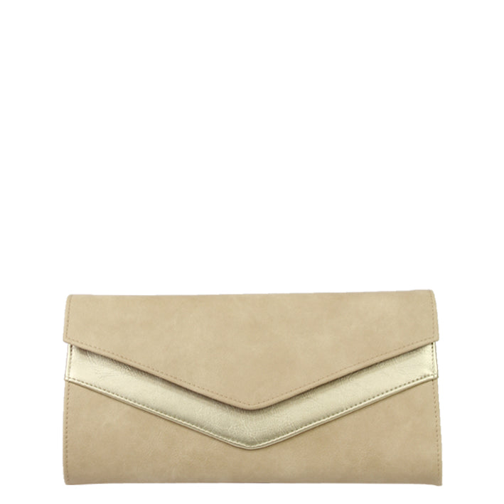 Jendi Putty and Gold Foldover Clutch